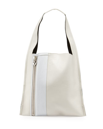 Estia Biker Shoulder Bag, White/Milk