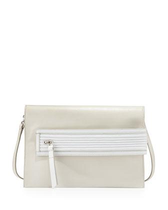 Nina Biker Shoulder Bag, White/Milk
