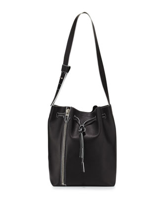 Leo Sensua Calfskin Bucket Bag w/Colored Edge, Black/Milk