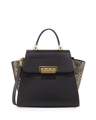 Eartha Metallic Colorblock Leather Tote Bag, Gold