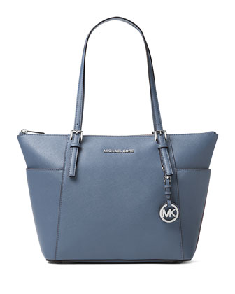 Jet Set Top-Zip Saffiano Tote Bag, Sky