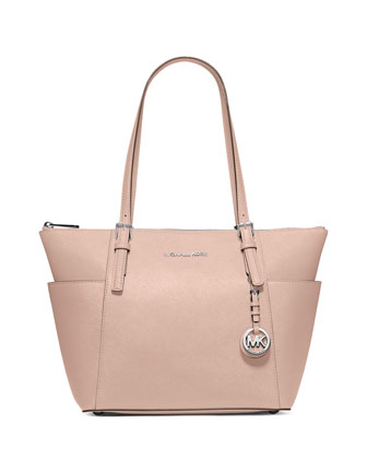Jet Set Top-Zip Saffiano Tote Bag, Ballet