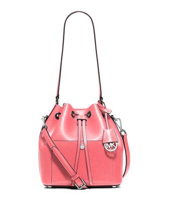 Greenwich Medium Bucket Bag, Coral/Pearl Gray