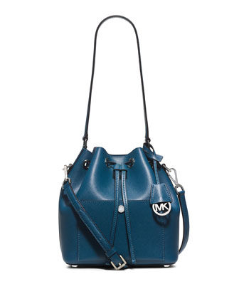 Greenwich Medium Bucket Bag, Steel Blue/Light Sky