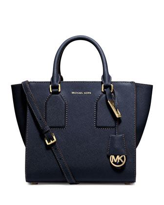 Selby Medium Zip-Top Satchel Bag, Navy