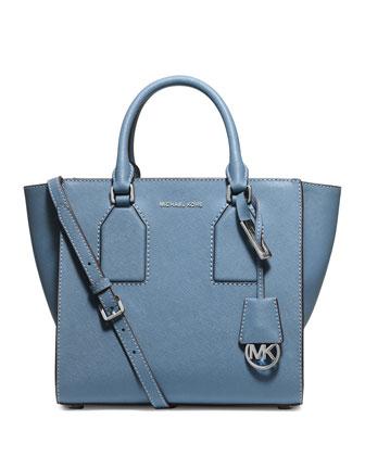 Selby Medium Zip-Top Satchel Bag, Sky