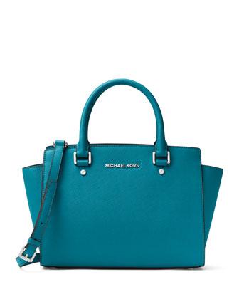 Selma Medium Zip-Top Satchel Bag, Sky