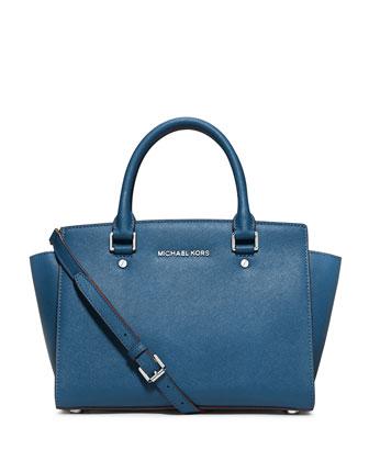 Selma Medium Zip-Top Satchel Bag, Steel Blue