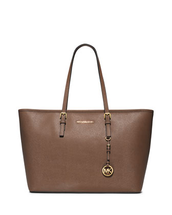 Jet Set Travel Medium Saffiano Tote Bag, Dark Dune