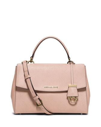 Ava Medium Saffiano Leather Satchel Bag, Ballet