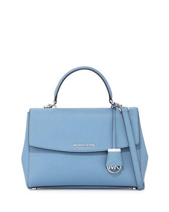 Ava Medium Saffiano Leather Satchel Bag, Sky