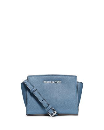 Selma Mini Saffiano Messenger Bag, Sky