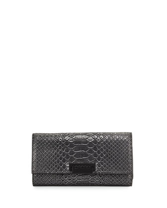 Eartha Embossed Faux-Leather Wallet, Silver