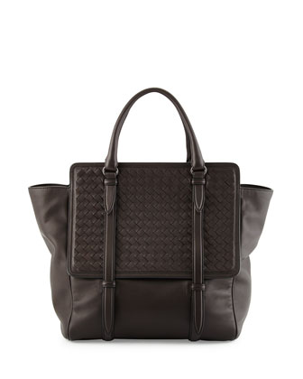Intrecciato Large Flap Tote Bag, Espresso Brown