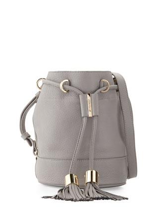 Vicki Small Leather Bucket Bag, Cashmere Gray