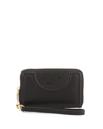 Serif-T Leather Smartphone Wristlet Wallet, Black