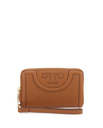 Serif-T Leather Smartphone Wristlet Wallet, Bark