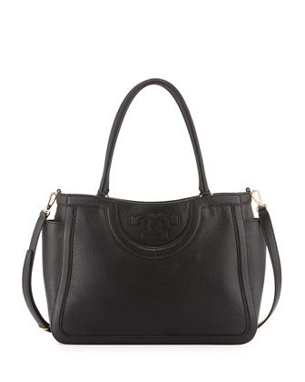 Serif-T Leather Satchel Bag, Black
