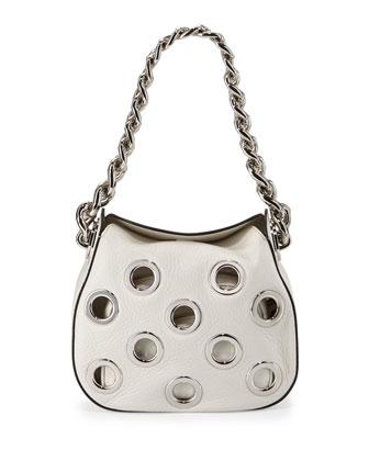 Vitello Daino Small Perforated Chain Hobo Bag, White (Talco)