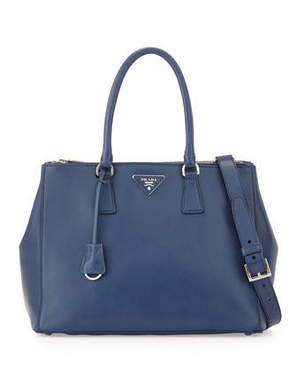 City Calfskin Bicolor Double-Zip Galleria Tote Bag, Dark Blue/Green ...