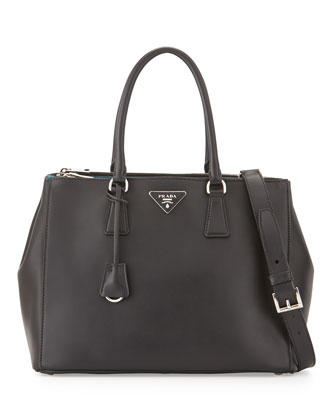 City Calfskin Bicolor Double-Zip Galleria Tote Bag, Black/Blue (Nero+Celeste)
