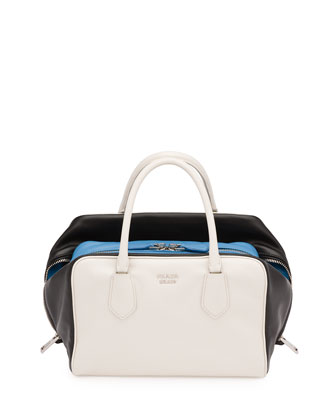 Soft Calf Medium Tricolor Inside Bag, White/Black/Light Blue (Talco+Nero)
