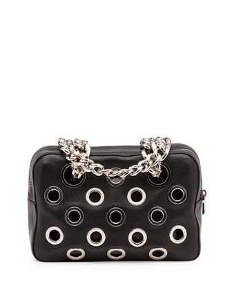 Vitello Daino Perforated Chain Shoulder Bag, Black (Nero)