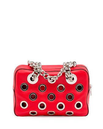 Vitello Daino Perforated Chain Shoulder Bag, Orange/Red (Lacca)