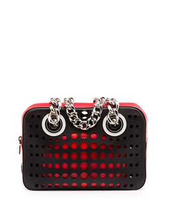 City Fori Perforated Chain Shoulder Bag, Black/Orange/Red (Nero+Lacca)