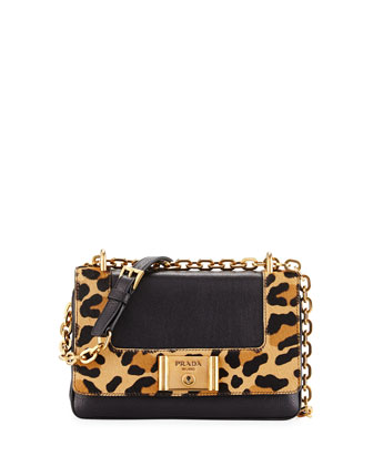 Leopard-Print & Calfskin Flap Shoulder Bag, Black/Honey (Nero+Miel)