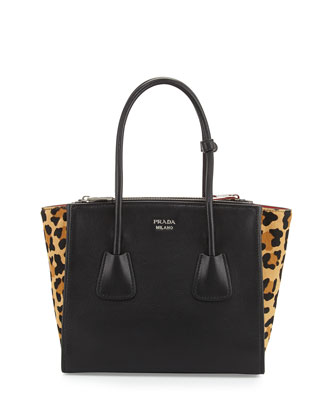 Calf Hair & Calfskin Medium Twin-Pocket Tote Bag, Black Leopard (Nero+Miele)