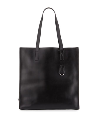 Soft Calfskin North-South Tote Bag, Black/Light Blue (Nero+Celeste)