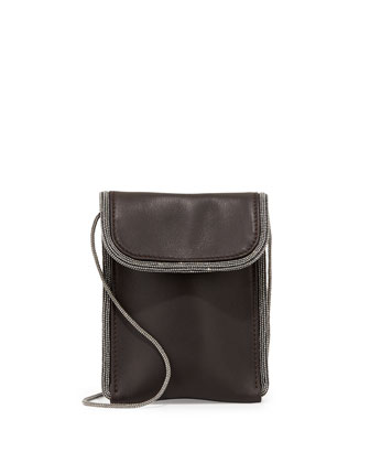 Monili-Trim Leather Mini Pouch Crossbody Bag, Smoke