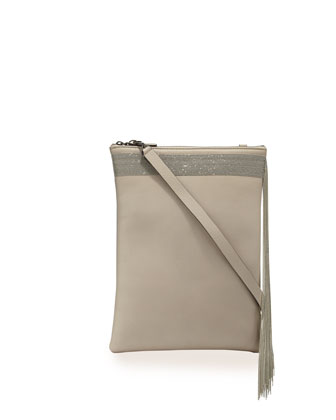 Monili Fringe Leather Crossbody Bag, Nude