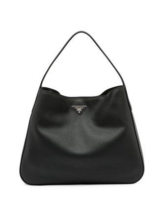 Vitello Daino Medium Wide-Strap Hobo Bag, Black (Nero)