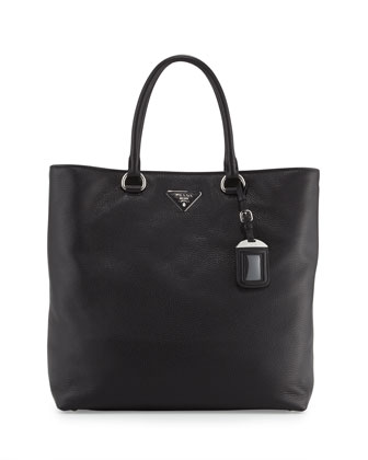 Vitello Daino North-South Tote Bag, Black (Nero)
