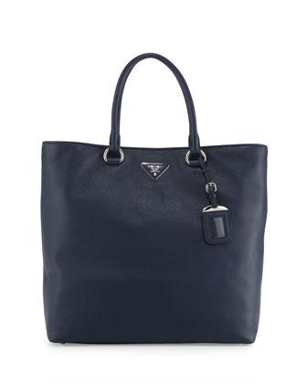 Vitello Daino North-South Tote Bag, Dark Blue (Baltico)