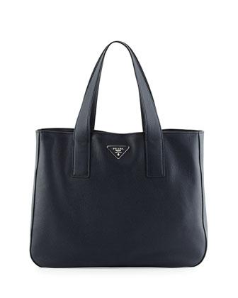 Vitello Daino Medium Open Wide Strap Tote Bag, Dark Blue (Baltico)