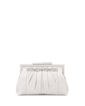 Jennie Jeweled Silk Evening Clutch Bag, Silver