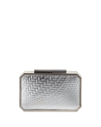 Katrina Leather Minaudiere Evening Clutch Bag, Silver