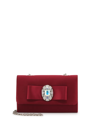 Cher Jeweled Bow Evening Clutch Bag, Wine