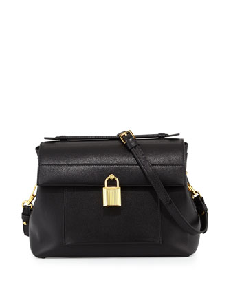 Lock Small Calf Crossbody Bag, Black