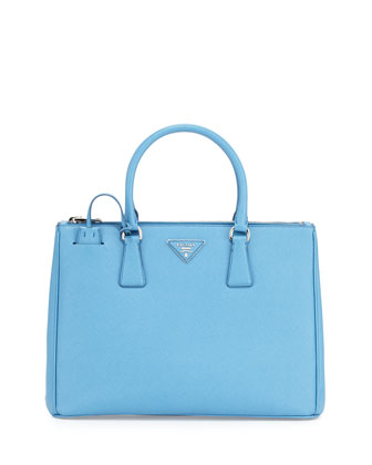 Saffiano Lux Double-Zip Tote Bag, Light Blue (Mare)