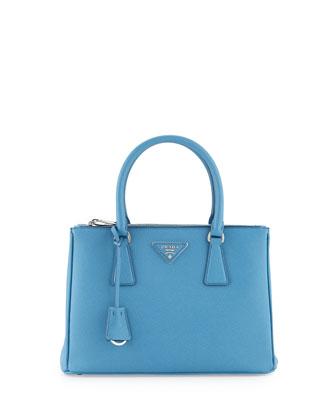 Saffiano Lux Small Double-Zip Tote Bag, Light Blue (Mare)