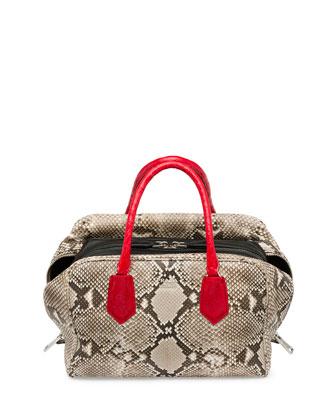 Python Tricolor Inside Bag, Natural/Red (Roccia+Rosso+Nero)