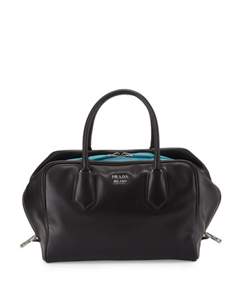 Soft Calf Medium Inside Bag, Black/Turquoise (Nero+Turchese)