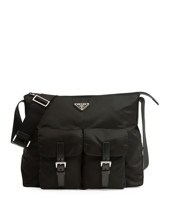 Vela Double-Pocket Messenger Bag, Black (Nero)
