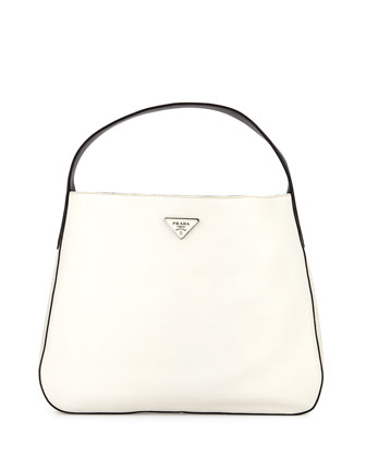 Vitello Daino Medium Bicolor Wide-Strap Hobo Bag, White/Black/Yellow ...