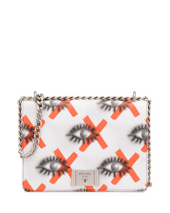 Daino St. Eyes Shoulder Bag, White/Red (Bianco+Arancio)