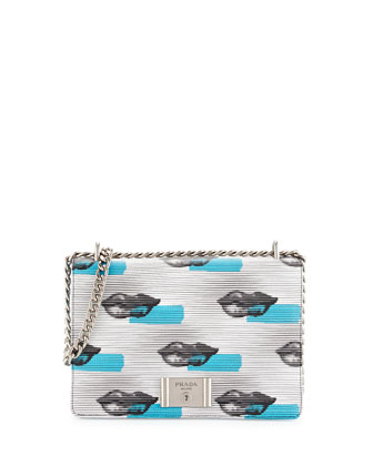 Vitello Daino Lips Shoulder Bag, White/Blue (Bianco+Azzuro)